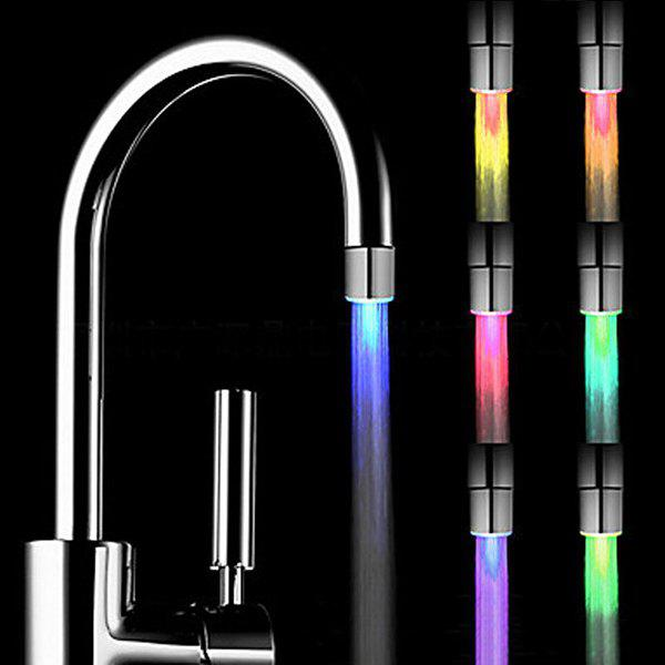 Modern LED Light 3 Colors Temperature Sensor Kitchen Faucet - SILVER