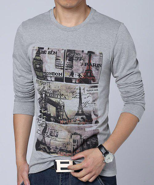 Stamp Print Round Neck Long Sleeve Slimming Stylish Men's T-Shirt - LIGHT GRAY XL