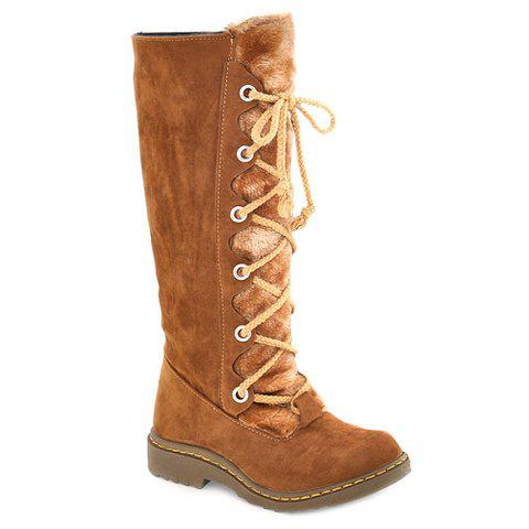 Stylish Criss-Cross and Plush Design Mid-Calf Boots For Women - BROWN 35