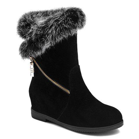 Trendy Flat Heel and Faux Fur Design Mid-Calf Boots For Women - BLACK 39