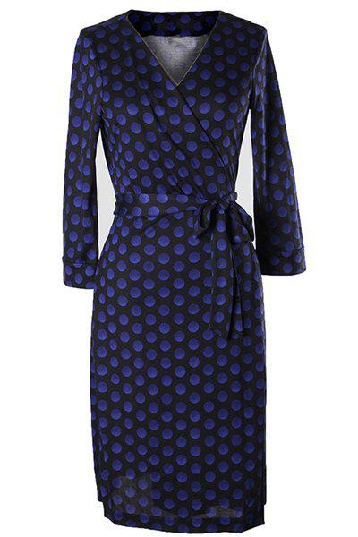 Vintage Women's V-Neck 3/4 Sleeve Polka Dot Dress - L BLUE