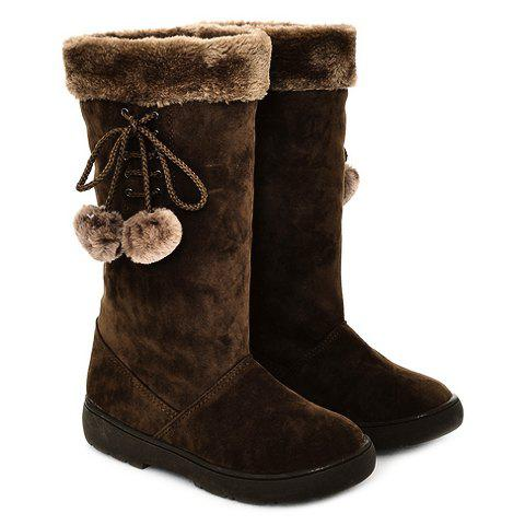 Stylish Solid Color and Pompon Design Mid-Calf Boots For Women - DEEP BROWN 36