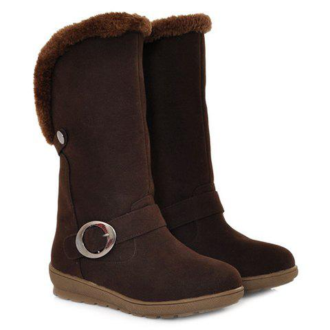 Concise Buckle and Fold Over Design Mid-Calf Boots For Women - DEEP BROWN 40