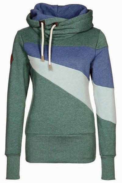 Chic Long Sleeve Hooded Hit Color Women's Hoodie - GREEN XL