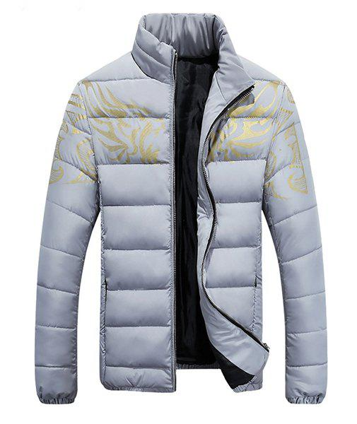 Stand Collar Golden Dragon Pattern Long Sleeve Men's Padded Coat - GRAY M