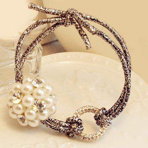 Graceful Rhinestoned Faux Pearl Elastic Hair Band For Women