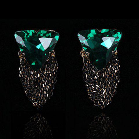 Pair of Stylish Faux Crystal Triangle Drop Earrings For Women - GREEN