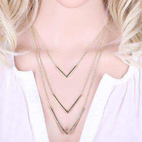 Layered V Shaped Necklace -  GOLDEN