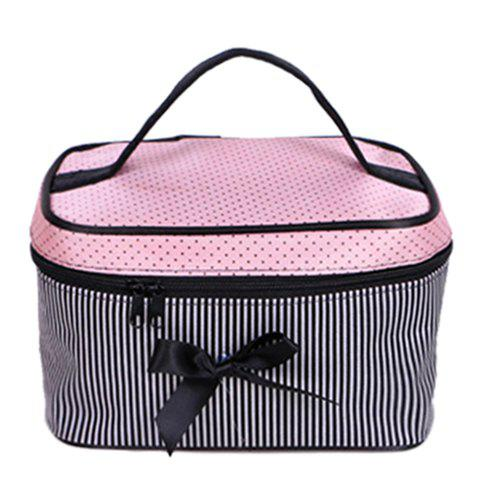 Fashion Stripes and Bow Design Women's Cosmetic Bag - PINK