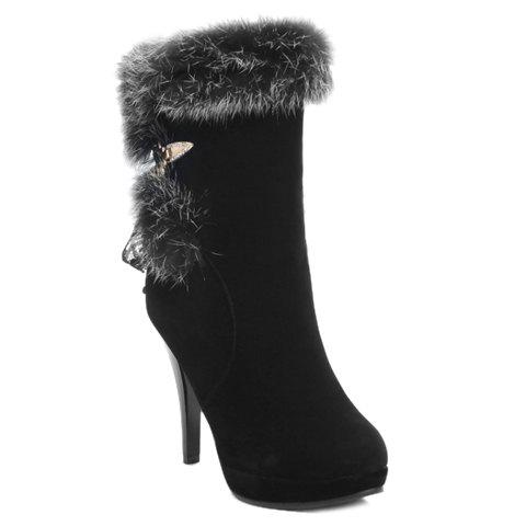 Gorgeous Faux Fur and Lace Design High Heel Boots For Women - BLACK 38