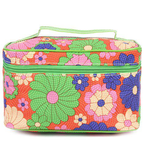 Fashion Color Block and Zip Design Women's Cosmetic Bag