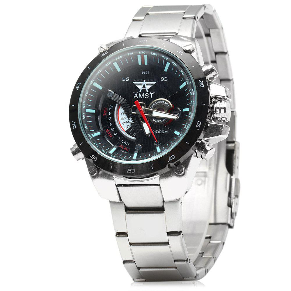AMST 3008 Male Steel Band Military Quartz Watch with Calendar Display 3ATM Water Resistant Luminous - BLACK