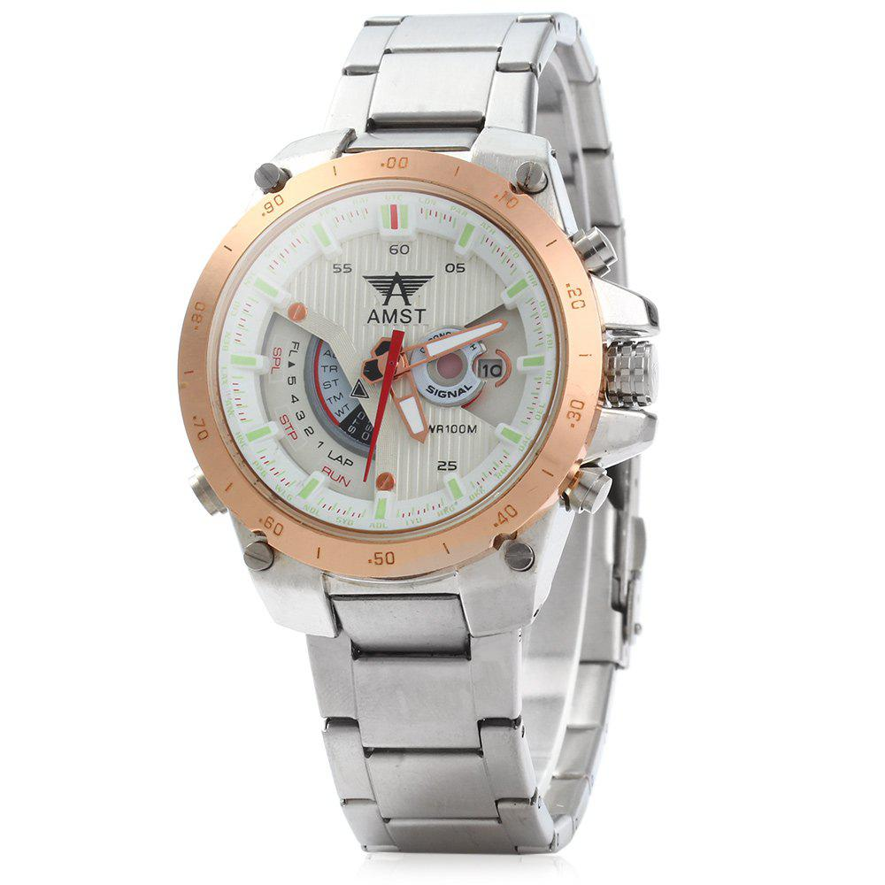 AMST 3008 Male Steel Band Military Quartz Watch with Calendar Display 3ATM Water Resistant Luminous - ROSE GOLD