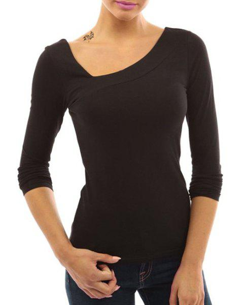 Stylish Solid Color Skew Neck Long Sleeve Bodycon T-Shirt For Women - BLACK M
