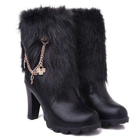 Stylish Faux Fur and Chain Design Women's Short Boots - BLACK 37