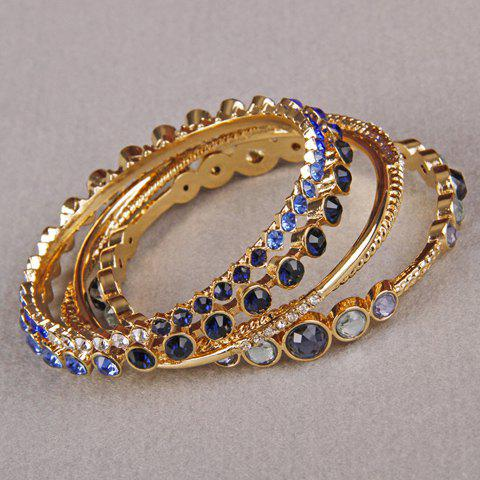 Round Faux Crystal Rhinestone Bracelets - SAPPHIRE BLUE