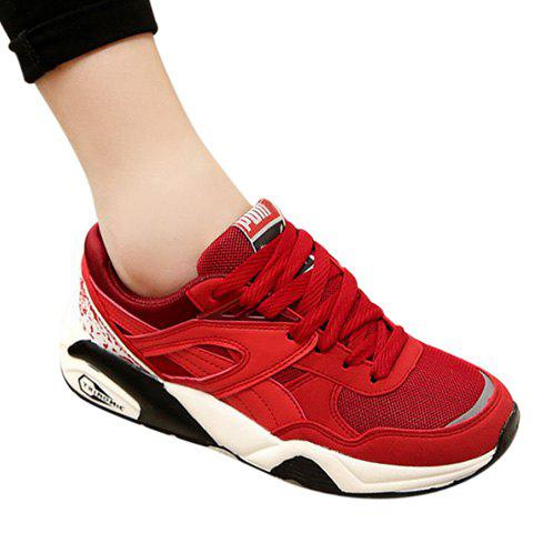 Trendy PU Leather and Mesh Design Athletic Shoes For Women - RED 36