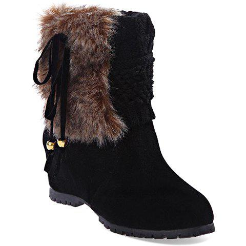 Stylish Increased Internal and Knitting Design Women's Short Boots