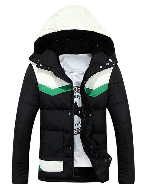 Fashion Hooded Color Block Splicing Long Sleeve Men's Thicken Padded Coat - BLACK 2XL