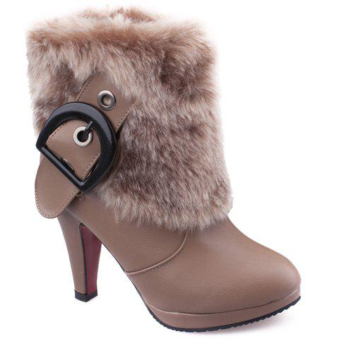 Fashionable Belt Buckle and Faux Fur Design Short Boots For Women