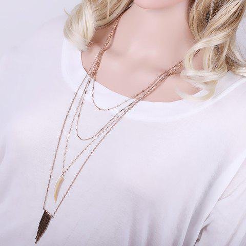 Chic Layered Faux Ox Horn Triangle Sweater Chain For Women - GOLDEN