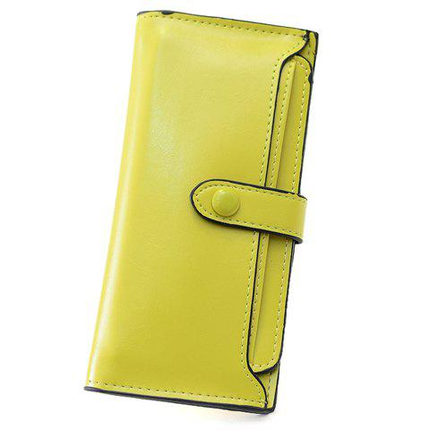 Simple PU Leather and Pure Color Design Wallet For Women - YELLOW