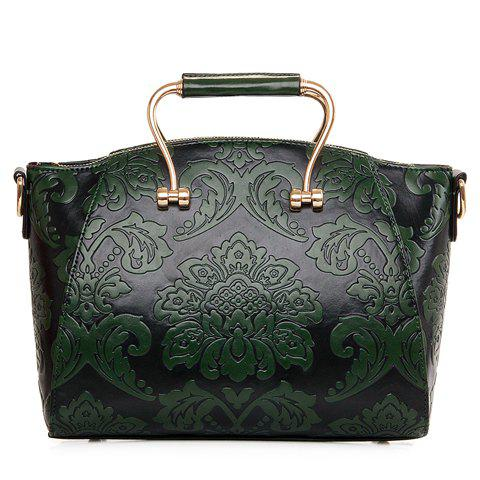 Vintage Embossing and PU Leather Design Tote Bag For Women
