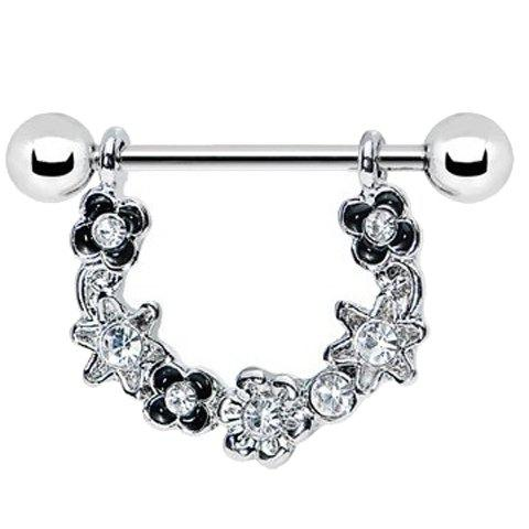 Delicate Rhinestone Floral Nipple Jewelry For Women - SILVER WHITE