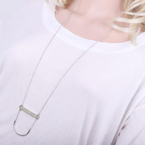 Delicate Faux Jade Rectangle Sweater Chain For Women - SILVER