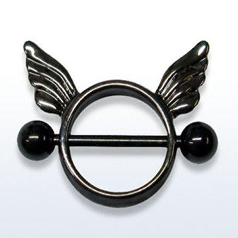 Chic Pure Color Wing Round Hollow Out Nipple Jewelry For Women - BLACK