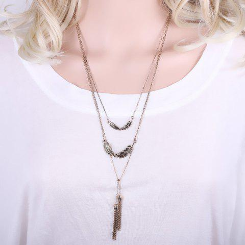 Delicate Solid Color Feather Metal Tassel Sweater Chain For Women - GOLDEN