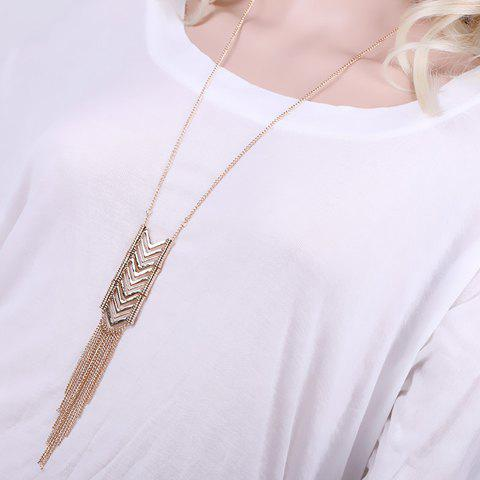 Trendy Hollow Out Triangle Metal Tassel Sweater Chain For Women