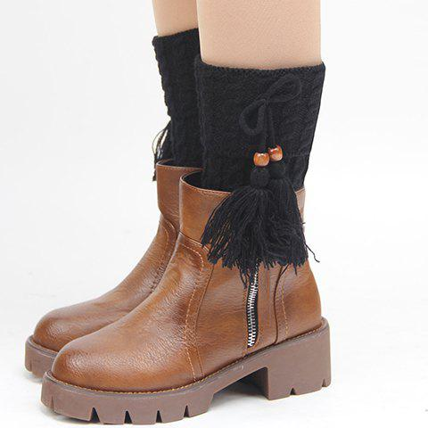 Pair of Chic Bow and Tassel Pendant Embellished Women's Knitted Boot Cuffs - BLACK