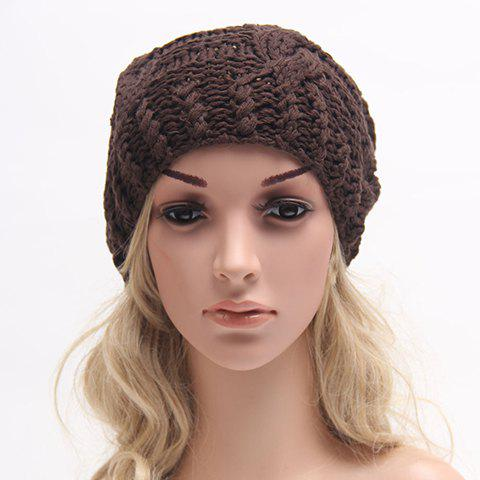 Chic Solid Color Hemp Flowers Slouchy Knitted Beanie For Women - COFFEE