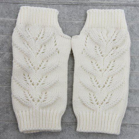 Pair of Chic Hollow Out Crochet Knitted Fingerless Gloves For Women
