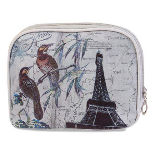 Cute PU Leather and Printed Design Women's Cosmetic Bag - GRAY