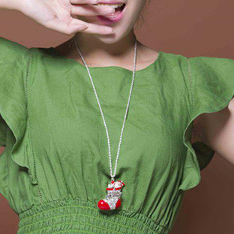 Stylish Rhinestone Sock Shape Christmas Sweater Chain Jewelry For Women - RED