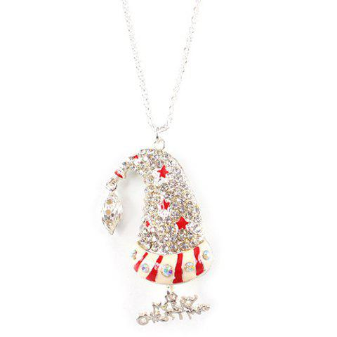 Chic Rhinestoned Hat Shape Christmas Sweater Chain Jewelry For Women - SILVER
