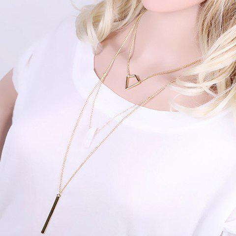 Delicate Layered Geometric Sweater Chain For Women