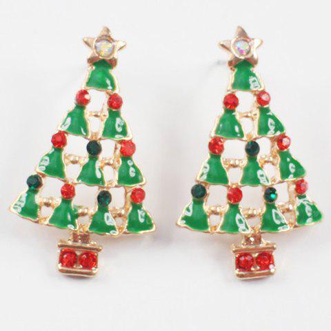 Pair of Chic Rhinestone Christmas Tree Shape Jewelry Earrings For Women - GREEN