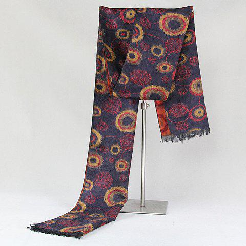 Stylish Various Circle Handpainted Pattern Fringed Warmth Scarf For Men - COLORMIX