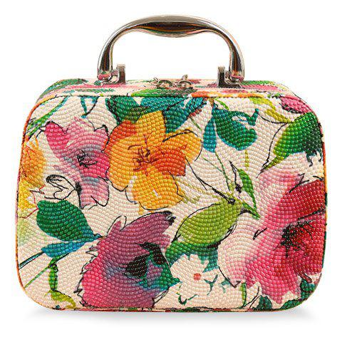 Sweet Floral Print and PU Leather Design Cosmetic Bag For Women - WHITE