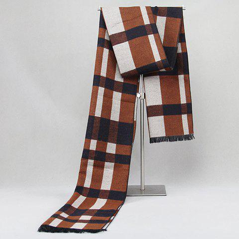Stylish Dark Color Tartan Pattern Fringed Edge Warmth Scarf For Men - BROWN