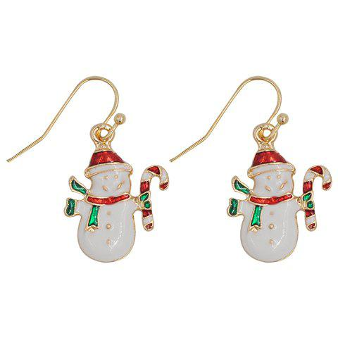 Pair of Stylish Snowman Christmas Earrings Jewelry For Women - WHITE