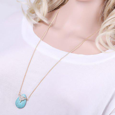 Delicate Rhinestone Turquoise Water Drop Sweater Chain For Women - TURQUOISE