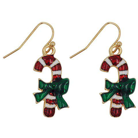Pair of Stylish Candy Cane Shape Christmas Earrings Jewelry For Women - RED