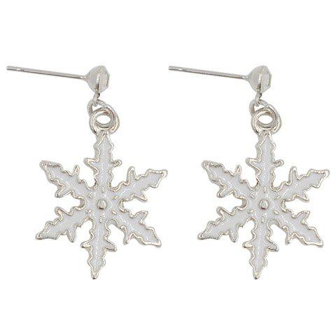 Pair of Stylish Snowflake Christmas Earrings Jewelry For Women - WHITE