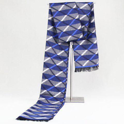 Stylish Checked and Stripe Pattern Fringed Edge Warmth Scarf For Men - BLUE