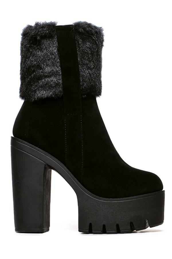 Stylish Platform and Chunky Heel Design Women's High Heel Boots