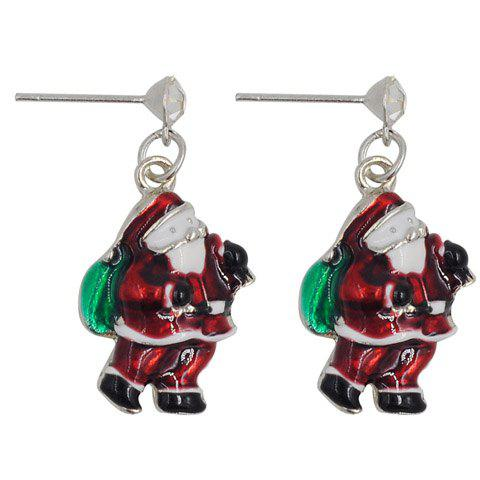 Pair of Stunning Santa Claus Shape Christmas Earrings Jewelry For Women - RED